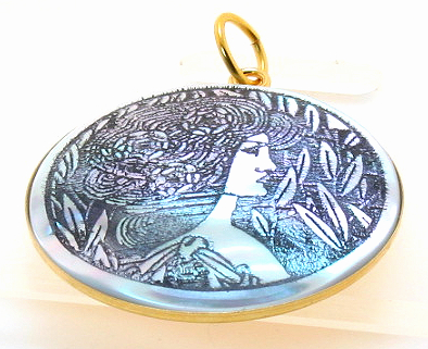 Art Etching Mother Of Pearl Pendant, Inspired from At by Beardsely