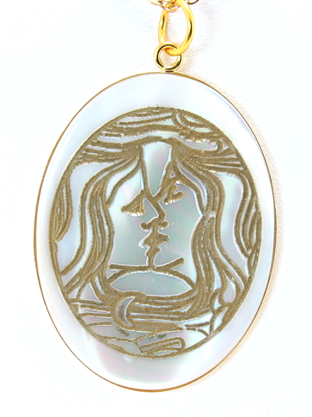 The Kiss, Art Etching Mother Of Pearl Pendant