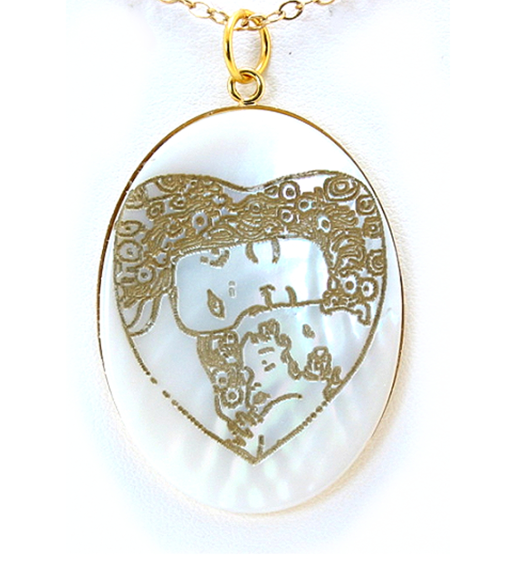 Mother and Child, Art Etching Mother Of Pearl Pendant