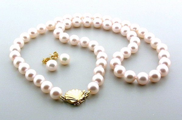 AA Grade 7-7.5MM Chinese Akoya Cultured Pearl 18in. Necklace/Earring Set 14K