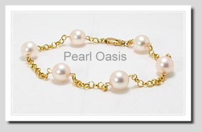 Tin Cup Bracelet w/7-7.5MM Akoya Cultured Pearls, 14K Yellow Gold, 7 In.