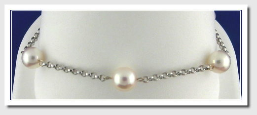 Tin Cup Bracelet w/7-7.5MM Akoya Cultured Pearls, 14K White Gold, 7 In.