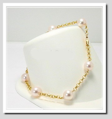 Tin Cup Bracelet w/7-7.5MM White Japanese Akoya Cultured Pearls, 14K Yellow Gold, 8 In.