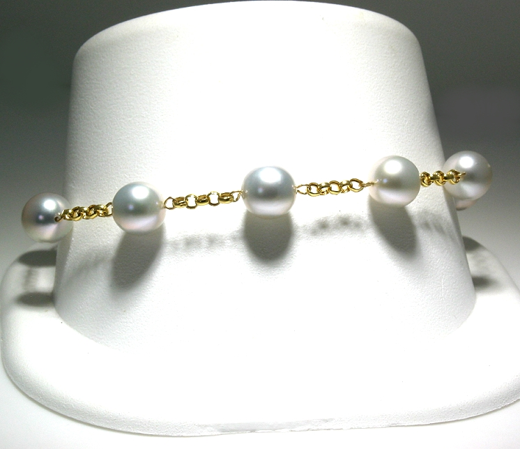 Tin Cup Bracelet w/7-7.5MM Silver Gray Akoya Cultured Pearls, 14K Yellow Gold, 8