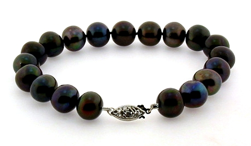 10-10.5MM Black Freshwater Pearl Bracelet 14K White Gold Clasp 8in