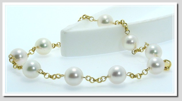 7.5-8MM White Japanese Akoya Pearl Tin Cup Bracelet 14K Gold 8in.