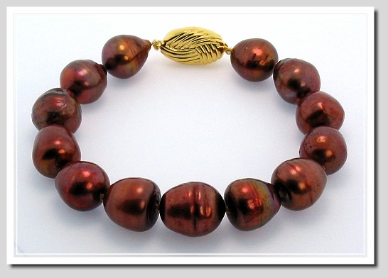 11X13MM Chocolate Red Freshwater Pearl Bracelet 8in. Silver/18KP Clasp