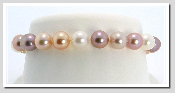 AAA Grade 8-8.5MM Natural Multi-Color Freshwater Pearl Bracelet 14K Gold 7in.