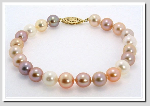 AAA Grade 8-8.5MM Natural Multi-Color Freshwater Pearl Bracelet 14K Gold 8in.