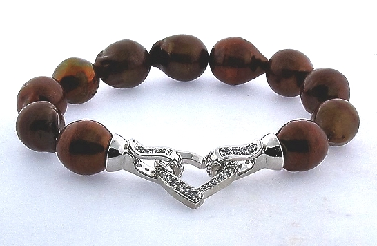 11X13MM Chocolate Brown Freshwater Pearl Bracelet, Silver Crystal Heart Clasp, 8in
