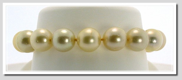 10.75MM - 12MM Gold South Sea Round Pearl Bracelet 18K Clasp 7.75in.
