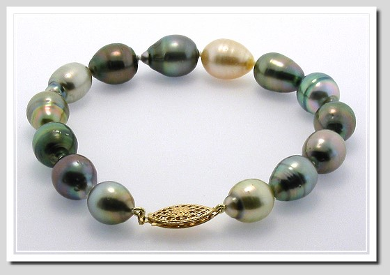 9.4X11MM - 10.9X15MM Multi Color Baroque Tahitian Pearl Bracelet 14K Clasp 8in