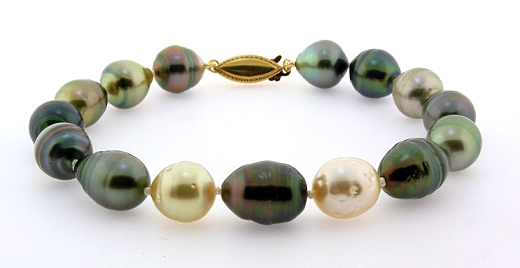 10X11MM -11.2X14.6MM Tahitian & South Sea Pearl Bacelet 14K Yellow Gold Clasp 8.5in
