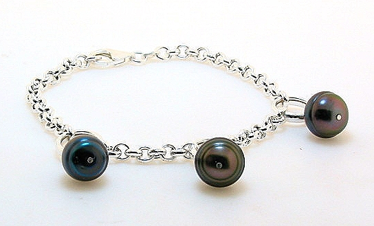 10-10.8MM Black Tahitian Pearl Dangle Bracelet, Silver, 9.3 Grams, 7.5in