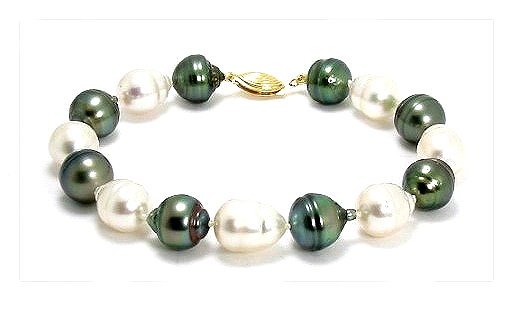 9.5MM - 10.5MM Multi Color South Sea & Tahitian Pearl Bracelet 14K Clasp 8in
