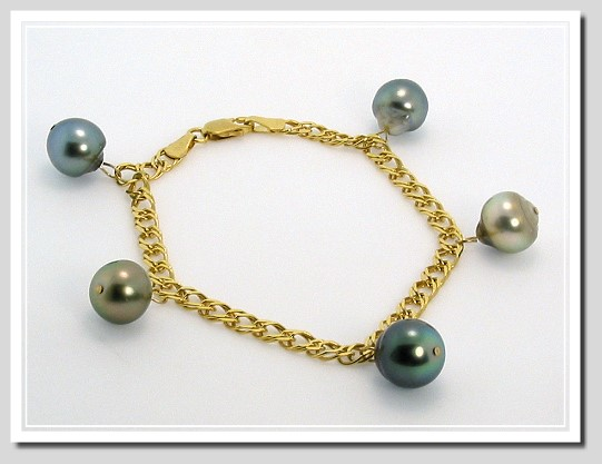 9.5-9.9MM Multi Color Tahitian Pearl Dangle Bracelet 10K Yellow Gold 7in.