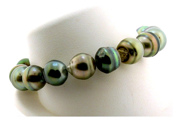 11MM - 11.5MM Multi Color Tahitian Pearl Stratch Bracelet 8in
