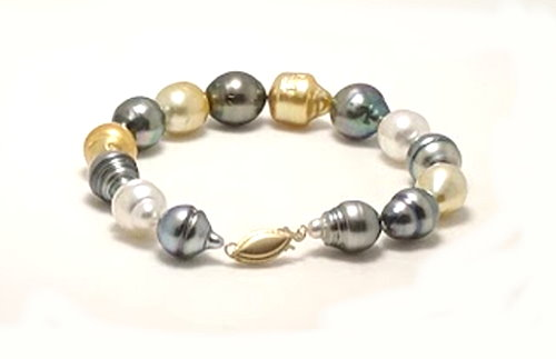 9.2X13MM - 10.8X12.6MM Multi Color Tahitian & South Sea Pearl Bracelet, 14K Clasp, 7.5in