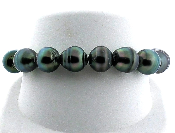 11X11.7MM - 11.3X15MM Dark Gray Tahitian Pearl Stretch Bracelet 8in