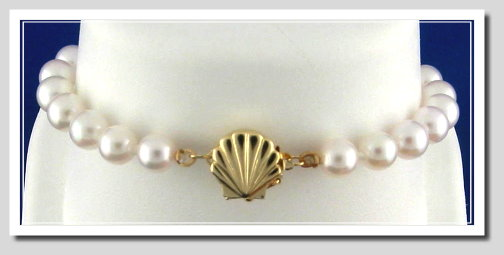 AA Grade 6-6.5MM Chinese Akoya Cultured Pearl Bracelet w/14K Sea Shell Clasp, 8 Inches