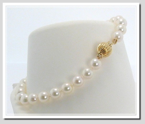 AA 7-7.5MM White Chinese Akoya Cultured Pearl Bracelet 14K Clasp