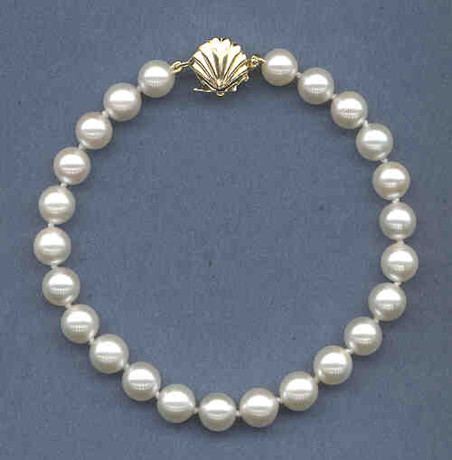 AA Grade 7-7.5MM Chinese White Akoya Cultured Pearl Bracelet w/14K Sea Shell Clasp, 8 Inches