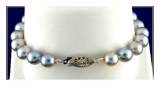 7.5-8MM Silver Gray Akoya Pearl Bracelet, 14K White Gold Clasp, 7 In.