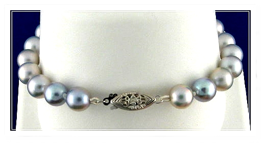 7.5-8MM Silver Gray Akoya Pearl Bracelet, 14K White Gold Clasp, 8 In.