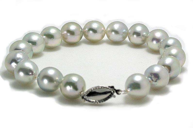 8.5-9MM Semi Baroque Silver Gray Japanese Akoya Pearl Bracelet 14K Clasp 8in