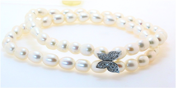 Double Strand White Freshwater Pearl & White Crystal Butterfly Charm Bracelet, Silver