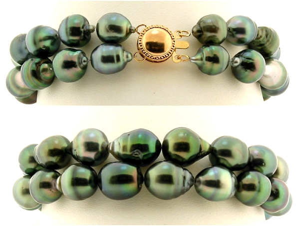 Double Strand 8.2X9MM - 10X12MM Gray/Green Tahitian Pearl Bracelet, 14K Clasp, 8in