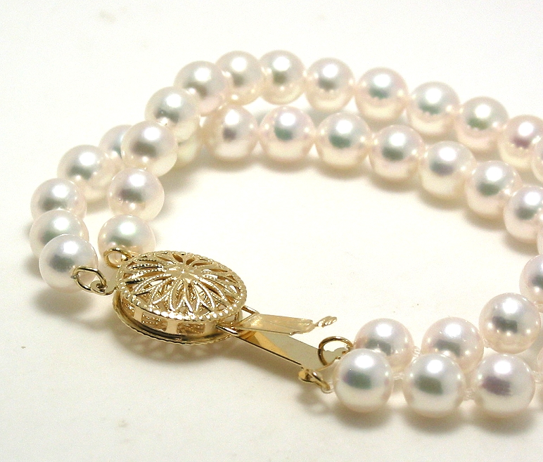 AAA 5.5-6MM Japanese Akoya Pearl Double Strand Bracelet, 14K Clasp, 7in