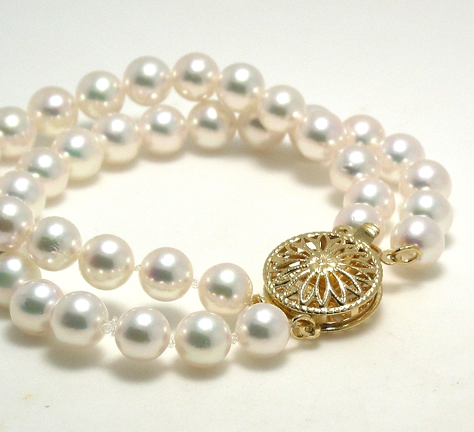 AAA 5.5-6MM Japanese Akoya Pearl Double Strand Bracelet, 14K Clasp 8in