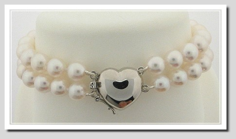 AA 7-7.5MM Akoya Chinese Cultured Pearl Double Strand Bracelet 14K Heart Clasp 8in