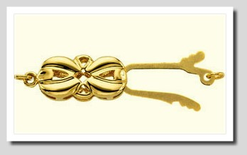 Designer Bowknot Shape Safety Clasp 14K Yellow Gold For Pearls 6.5-8MM