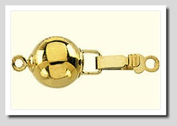 8MM High Polish Ball Safety Clasp 14K Yellow Gold for Pearls 6-7MM