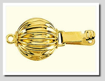 9MM Corrugated Ball Safety Clasp 14K Yellow Gold For Pearls 7-8MM