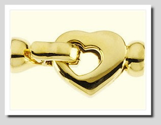 Designer Fold-Over Snap Lock Heart Clasp 14K Yellow Gold For Pearls 7-9MM Easy Operated
