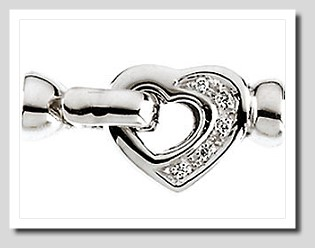 Designer Fold-Over Snap Lock Diamond Heart Clasp 14K White Gold For Pearls 7-9MM Easy Operated