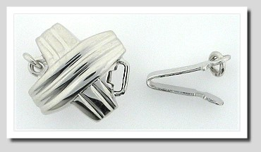 XO Style Double Sided Safety Clasp, 18K White Gold