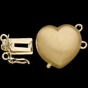 Heart Shape Double Strand Safety Clasp, 14K Yellow