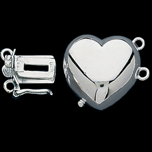 Heart Shape Double Strand Safety Clasp, 14K White