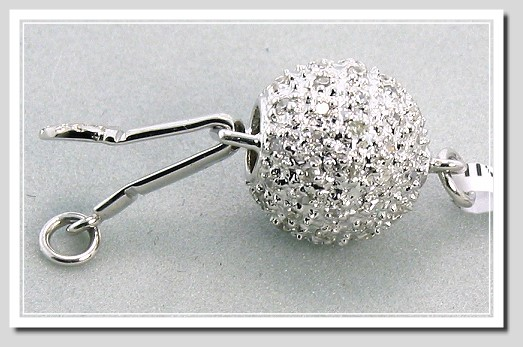 9MM Designer's Diamond Ball Clasp 0.36CT. 14K White Gold