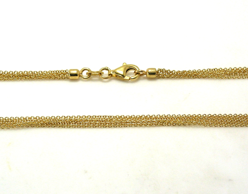 Six Strand Link Chain Necklace, 14K Yellow Gold, 16in, 5.7 Grams