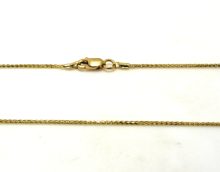 1MM Wheat Style Chain, 14K Yellow Gold, 18in, 2.5 Grams
