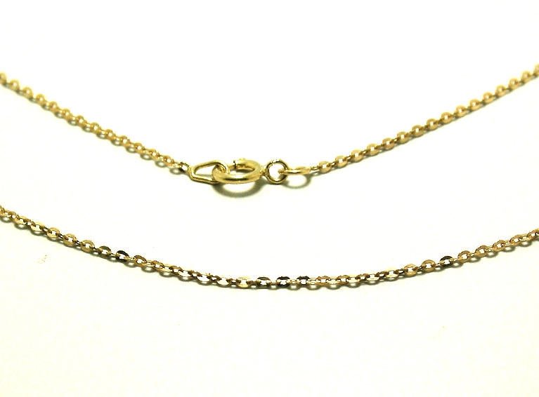 1MM Diamond Cut Link Chain, 14K Yellow Gold, 16in