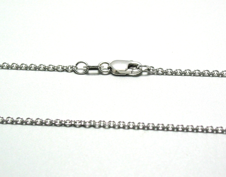 14K White Gold Rolo Link Chain, 18in, 3.3 Grams