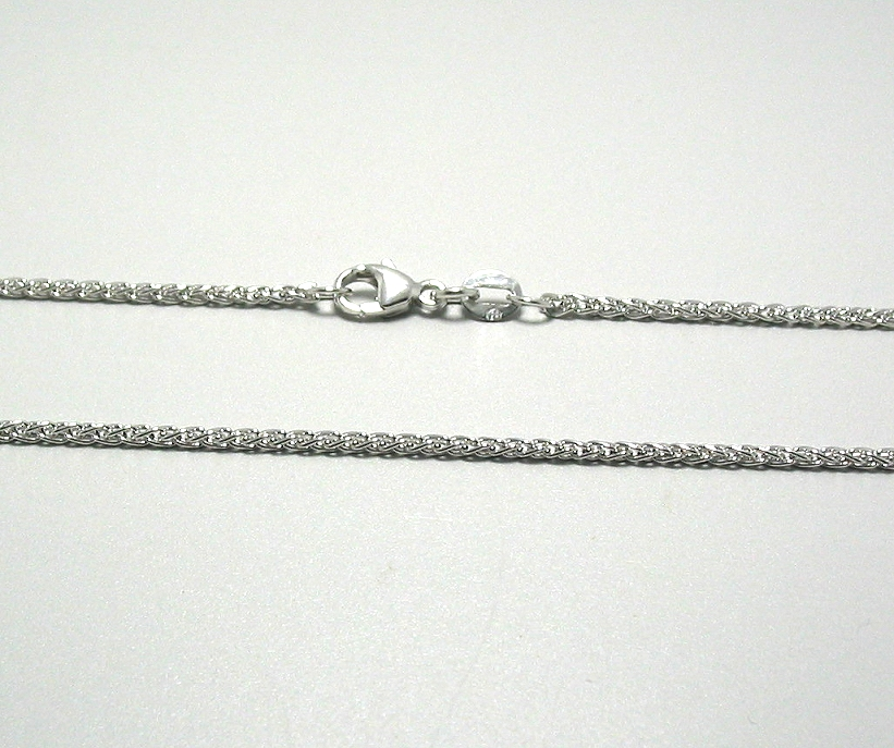 1.6MM Spiga Necklace, 18K White Gold, 16 In. 4.9 Grams