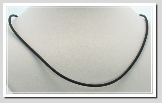 2MM Black Rubber Cord Necklace 14K White Gold Lobster  Claw Clasp 18in.