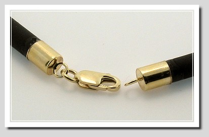 4MM Black Rubber Code Necklace 14K Gold Lobster Claw Clasp 24 In.